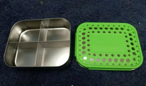 lime green 4 compartment metal lunchbox stainless