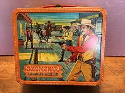Vintage 1959 Gunsmoke Metal Lunchbox by Aladdin. With Thermo